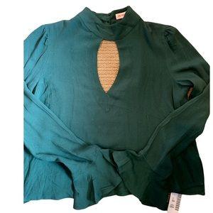 Sexy green blouse with open chest